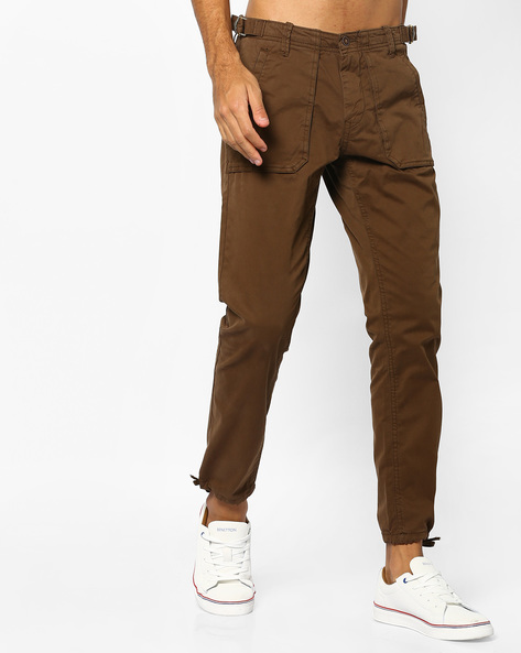 Slim Fit Carpenter Jogger Pants By AJIO ( Olive )