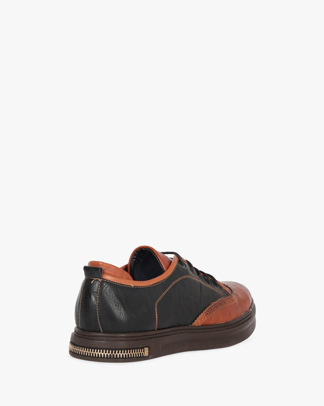 Colourblock Lace-Up Shoes By DUKE ( Brown )