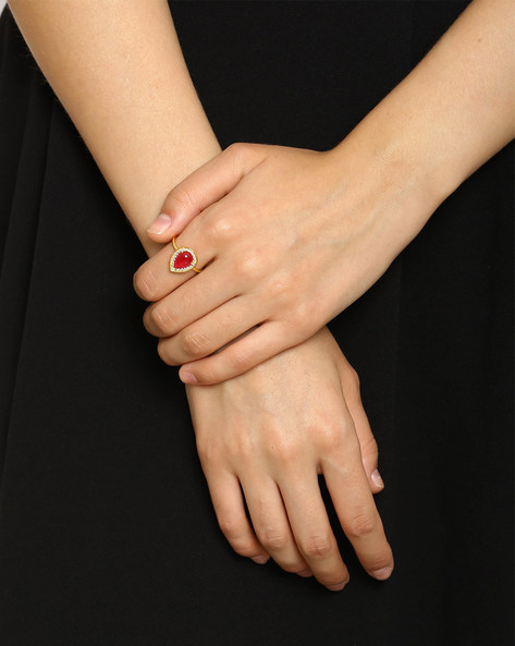 Zircon-Studded Quartz Ring By DWS ( Red )