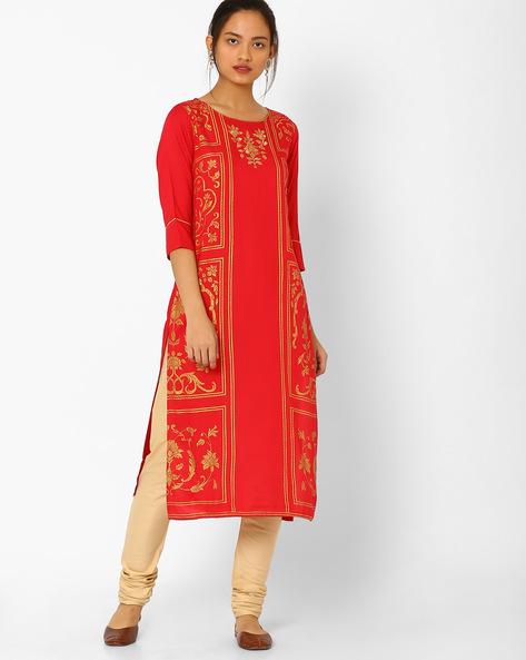 Printed Kurta With Zari Embroidery By AURELIA ( Red )