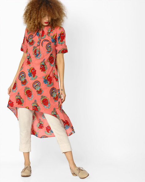 Printed High-Low Kurta With Patch Pocket By Desi Weaves ( Pink )
