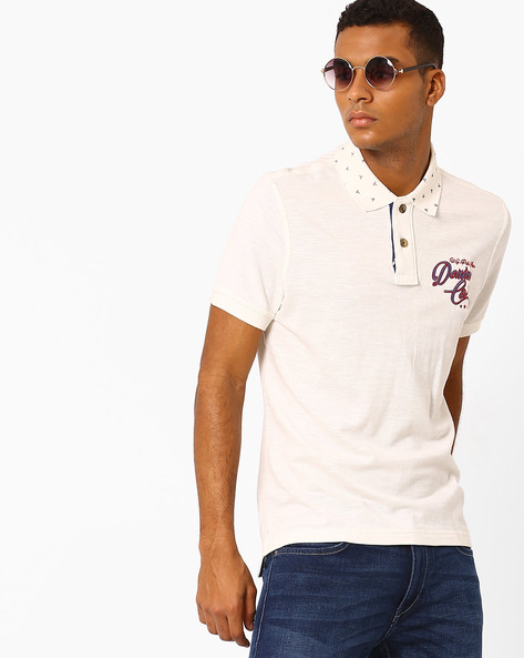Polo T-shirt With Printed Collar By US POLO ( Ivory )