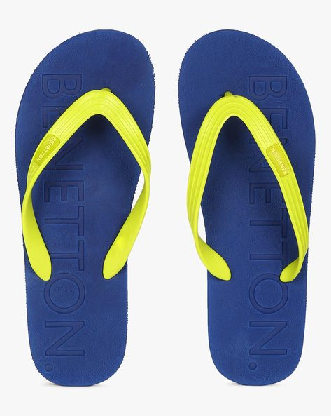 Thong-Style Flip-Flops With Embossed Branding By UCB ( Blue )