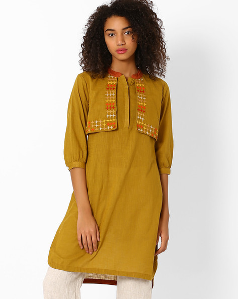 Straight Kurta With Mock Jacket By AJIO ( Olive )