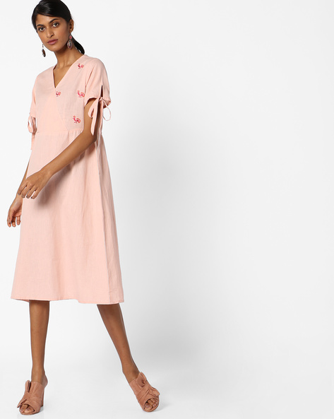 A-line Kurta With Tie-Up Sleeves By AJIO ( Rose )