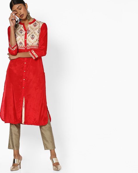 Straight Kurta With Printed Yoke By Indian Ink ( Red )