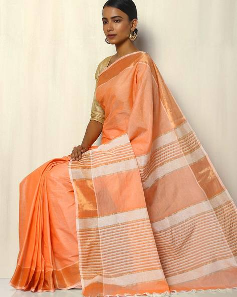 South Cotton Saree With Zari Border And Striped Pallu By Indie Picks ( Peach )