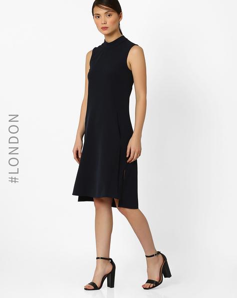 High-Low Shift Dress By Closet London ( Navyblue )