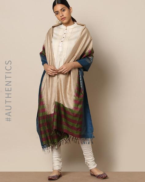 Handloom Pure Silk Tussar Muga Dupatta By Indie Picks ( Multi ) - 460176777001