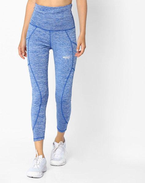 Heathered High-Waist Leggings By 2Go ( Blue )