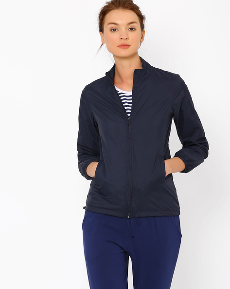 High-Neck Jacket With Adjustable Waist By AJIO ( Navyblue )