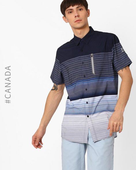 Striped Shirt With Zipper Insert By Point Zero ( Navy )
