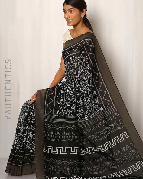 Patri Print Chanderi Saree With Ghicha Border By Indie Picks ( Black ) - 460016662001