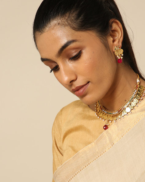 Goddess Lakshmi Coin Choker Necklace Set By Spargz ( Gold )