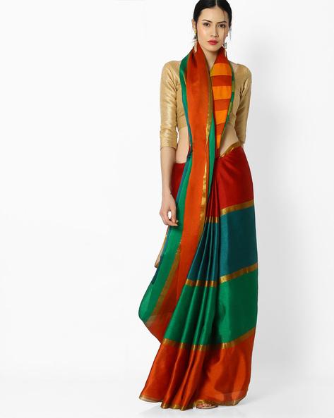 Striped Art Silk Saree By Amori ( Multicolor ) - 460086028001