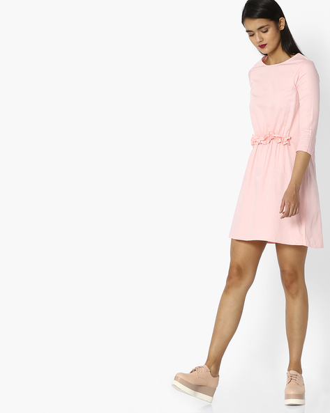 A-line Dress With Ruffle Detail By Evah London ( Pink )