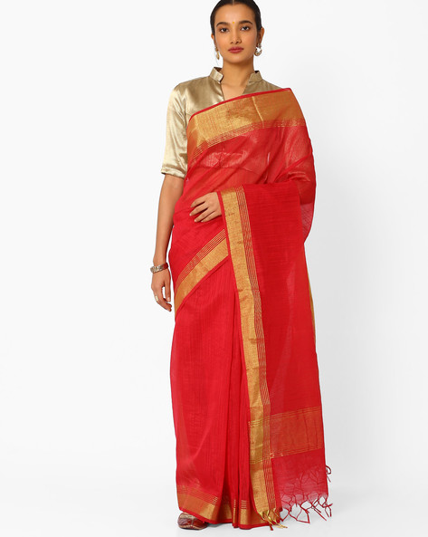 Saree With Contrast Zari Border By Amori ( Pink )