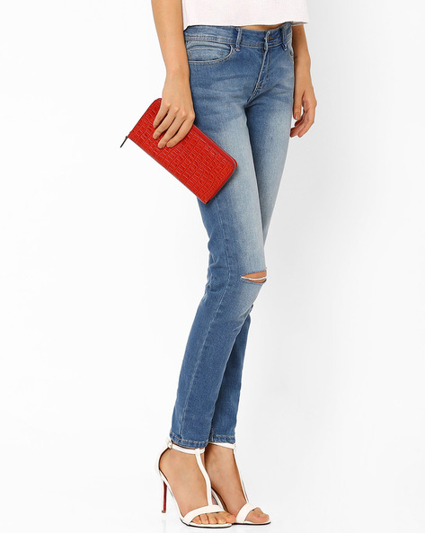 Textured Leather Wallet By La Roma ( Red ) - 460011389001