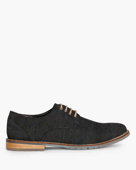 N9-Treated Textured Lace-Up Casual Shoes By AJIO ( Black )