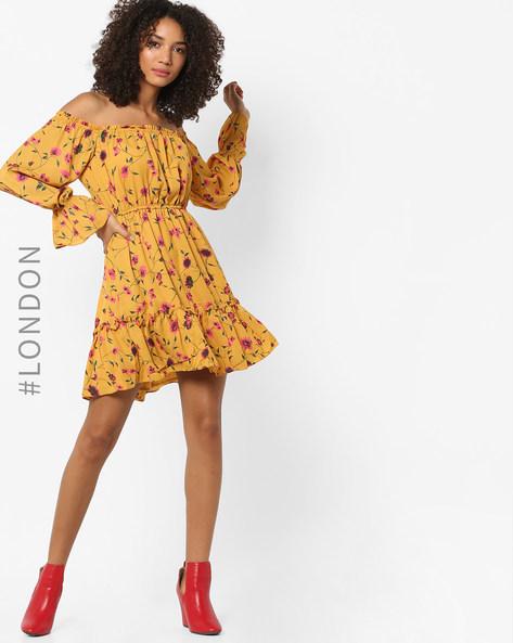Floral Print Off-Shoulder Fit & Flare Dress By Glamorous ( Mustard )