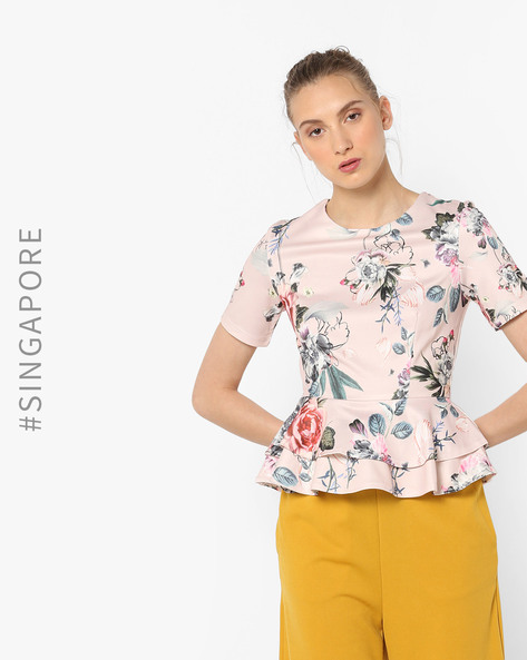 Floral Print Peplum Top By MDS ( Pink )