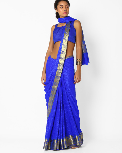 Jacquard Saree With Zari Border By Amori ( Blue )
