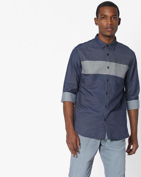 Slim Fit Shirt With Contrast Yoke By AJIO ( Navy )