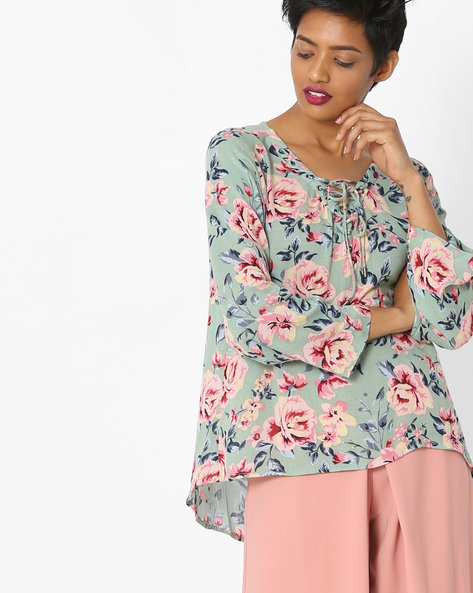 Floral Print High-Low Top By Only ( Grey )