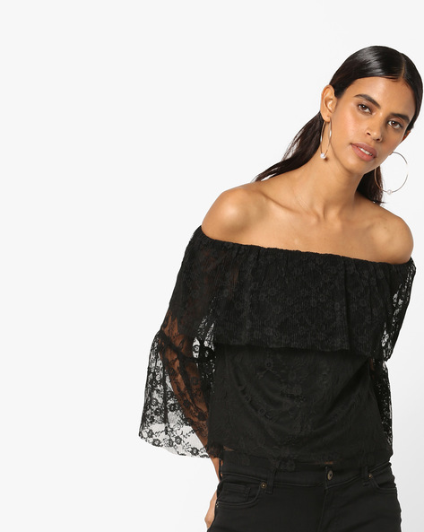 Off-Shoulder Lace Top By Vero Moda ( Black )