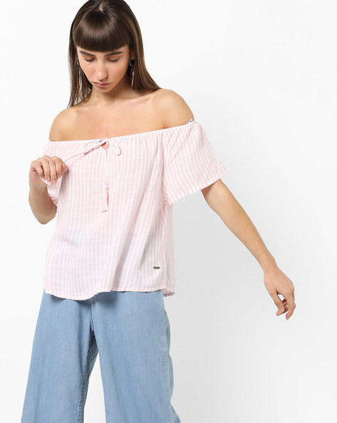 Striped Off-Shoulder Top With Tie-Up By Vero Moda ( White )