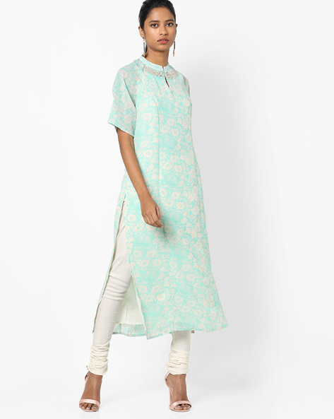 Floral Print Kurta With Embroidery By AJIO ( Teal )