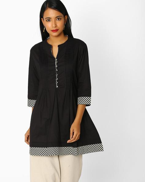 Cotton Tunic With Pintucks By Shree ( Black )