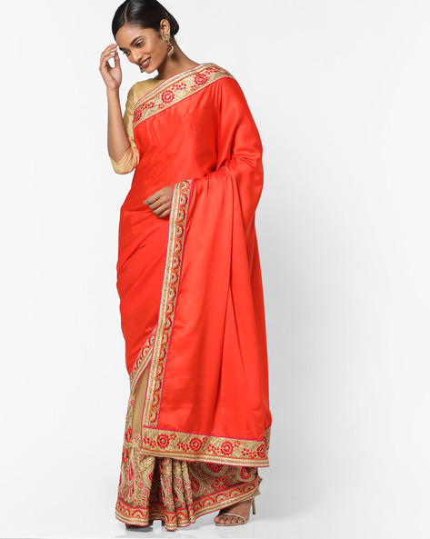 Embroidered Saree With Contrast Border By Shonaya ( Orange )