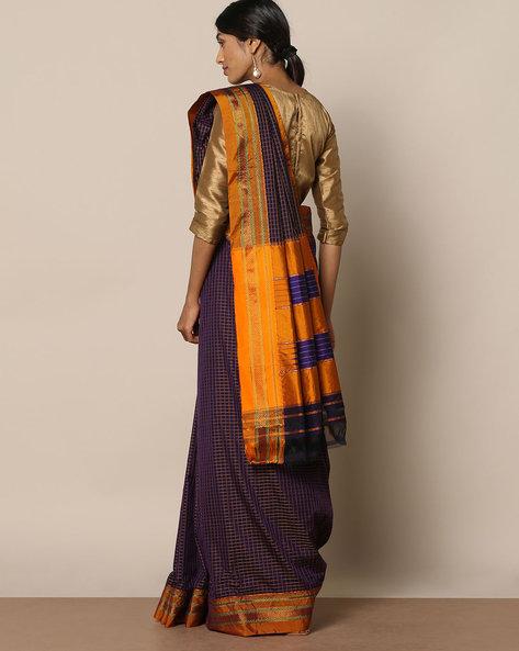 Cotton Silk Ilkal Saree With Zari Border By Indie Picks ( Blue )