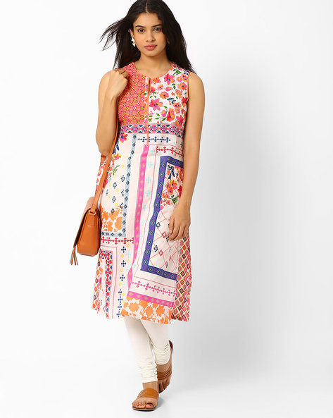 Printed Sleeveless Kurta By Biba ( Peach )