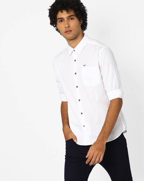 Cotton Shirt With Patch Pocket By FLYING MACHINE ( White )