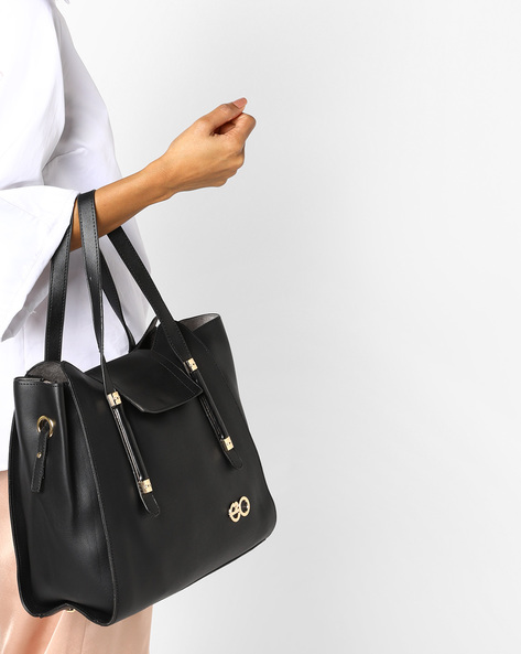 Tote Bag With Detachable Sling By E2O ( Black )