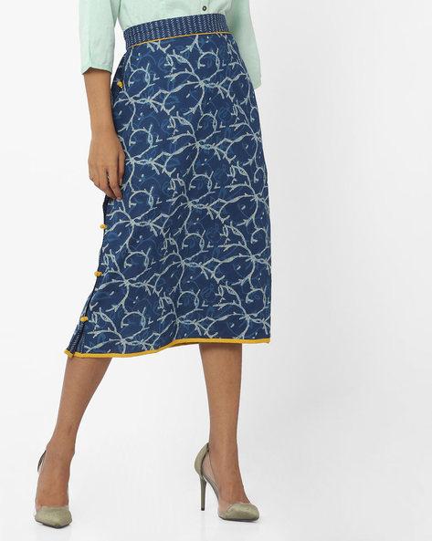 Printed Mid-Rise Skirt By SIYAHI ( Navy )