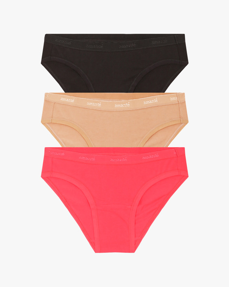 Pack Of 3 Hipster Panties By Amante ( Multi ) - 460046866006