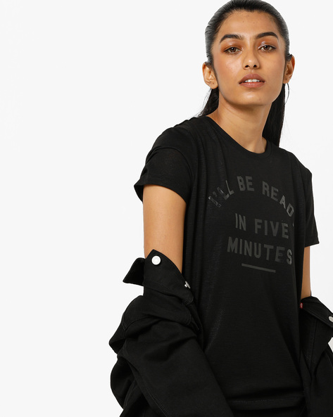 Slub-Knit Typographic Print T-shirt By Only ( Black )