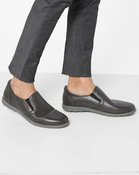 Genuine Leather Formal Slip-On Shoes By Buckle Up ( Grey )