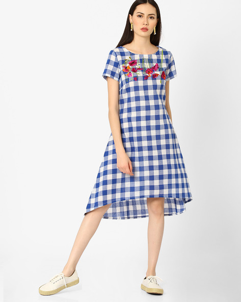 Checked High-Low Dress With Embroidery By AJIO ( Blue )