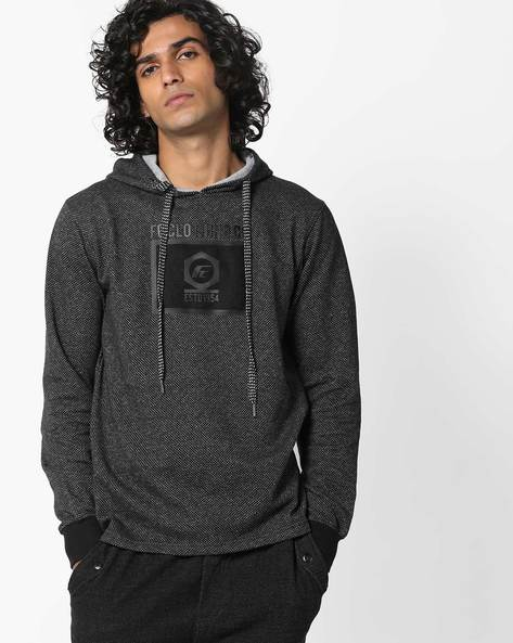 Hooded Cotton T-shirt By Fort Collins ( Black )