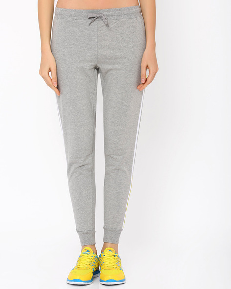 Cuffed Ankle-Length Track Pants By AJIO ( Greymelange )