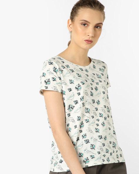 Leaf Print Crew-Neck T-shirt By AJIO ( Offwhite )