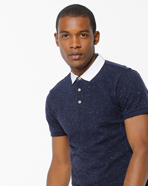 Speckled Polo T-shirt With Contrast Collar By UNITED COLORS OF BENETTON ( Navy )