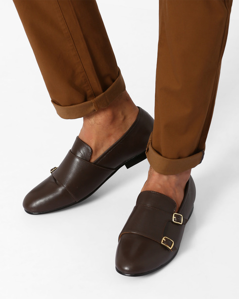Leather Formal Shoes With Monk Straps By Modello Domani ( Darkbrown )