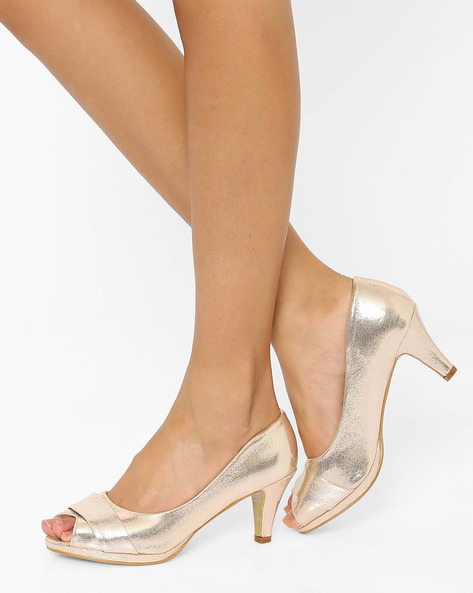 Peep-Toe Pumps By Tresmode ( Gold )
