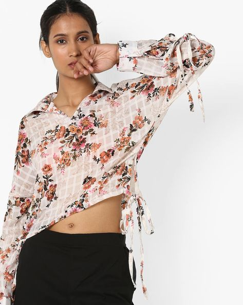 Floral Print Top With Tie-Ups By Femella ( White )