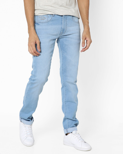 Lightly Washed Slim Fit Jeans By Pepe Jeans ( Ink )